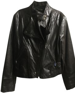 Laundry by Shelli Segal Dark Brown Leather Leather Jacket