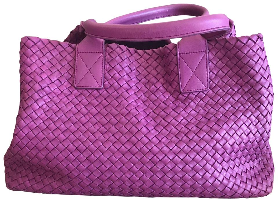 ba91e00c0a Bottega Veneta Large Cabat Limited Edition Bright Vibrant Purple Intrecciato  Leather with Smooth Leather Handles Shoulder Bag