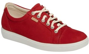 Ecco Suede Leather Lace Up Sneakers Red Athletic