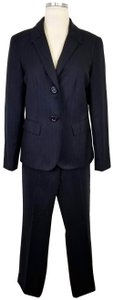 Lafayette 148 New York Navy Pinstripe Stretch Wool Menswear Pant Suit