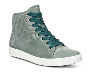 Ecco Leather Quilted High Top Sneakers Frosty Green Boots