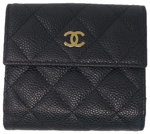 Chanel CHANEL Black Caviar Quilted Leather Compact Wallet