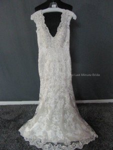 MADISON JAMES Cafe/Ivory/Silver Lace Mj216 Feminine Wedding Dress Size 4 (S)