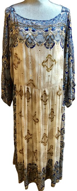 Item - Blue Cream Brown Beaded and Sequenced Mid-length Formal Dress Size 12 (L)