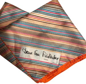 Diane von Furstenberg DIANE VON FURSTENBERG 100% SILK VINTAGE ERA ORANGE/MULTI-COLORED SCARF
