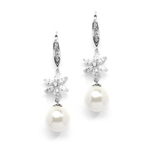 Mariell Best-selling Soft Cream Pearl Dangle Bridal Earrings With Cz Flowers 4275e