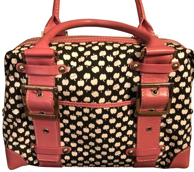 Item - Black and Off White Canvas with Pink Leather Trim. Silver Hardware. Satchel