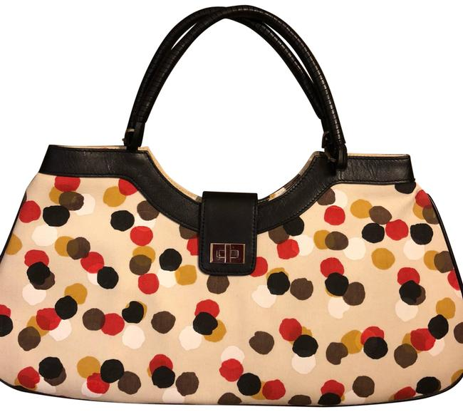 Item - Handbag Beige Canvas with Multi Color Polka Dots with Black Leather and Hobo Bag