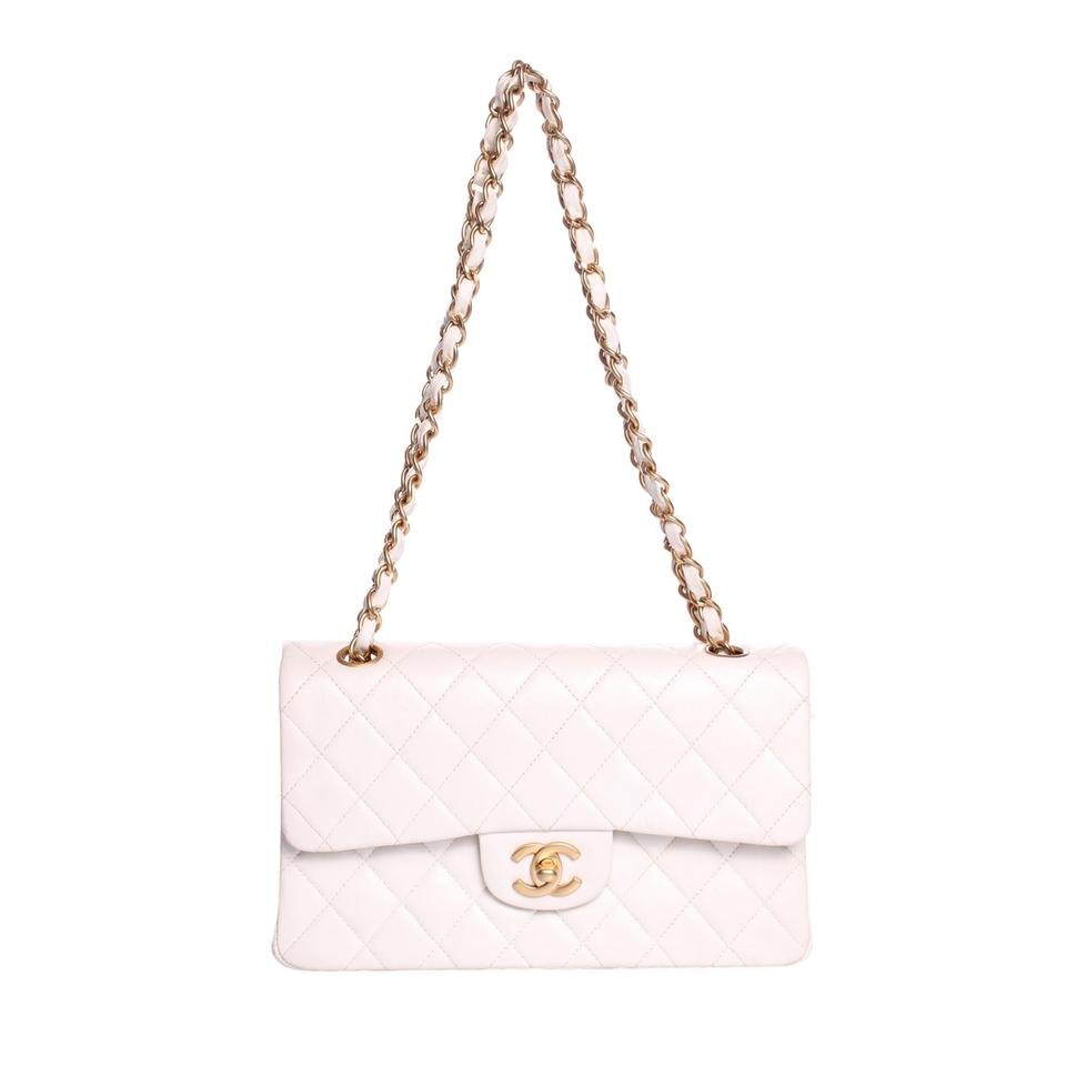 77a23f519d22b Chanel Classic Flap Small Quilted with Brass Hardware White Lambskin  Leather Shoulder Bag
