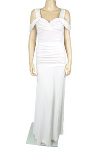 White Maxi Dress by BCBGMAXAZRIA Off Shoulder Ruched Maxi