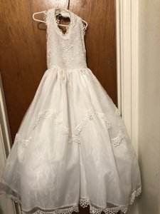 c55601ffb White Fancy Communion Or Flower Girl Dress with Petticoat - Girls Size 8