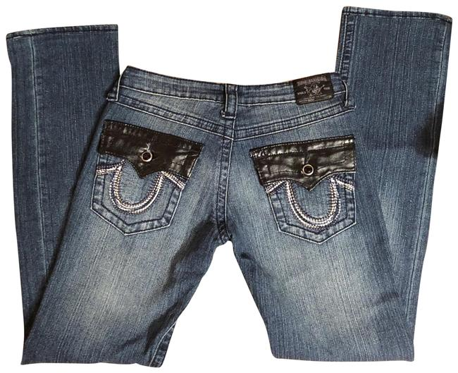 "Item - Medium Blue Denim/Black Wash ""ricky"" Rinse with Faux Leather Trim Straight Leg Jeans Size 2 (XS, 26)"