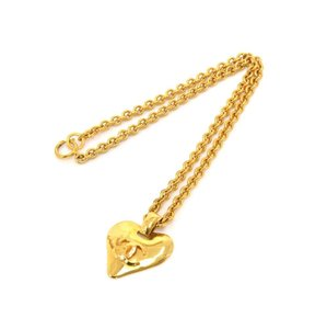 Chanel Vintage Chanel Gold Plated Heart-Shaped CC Logo Chain Necklace