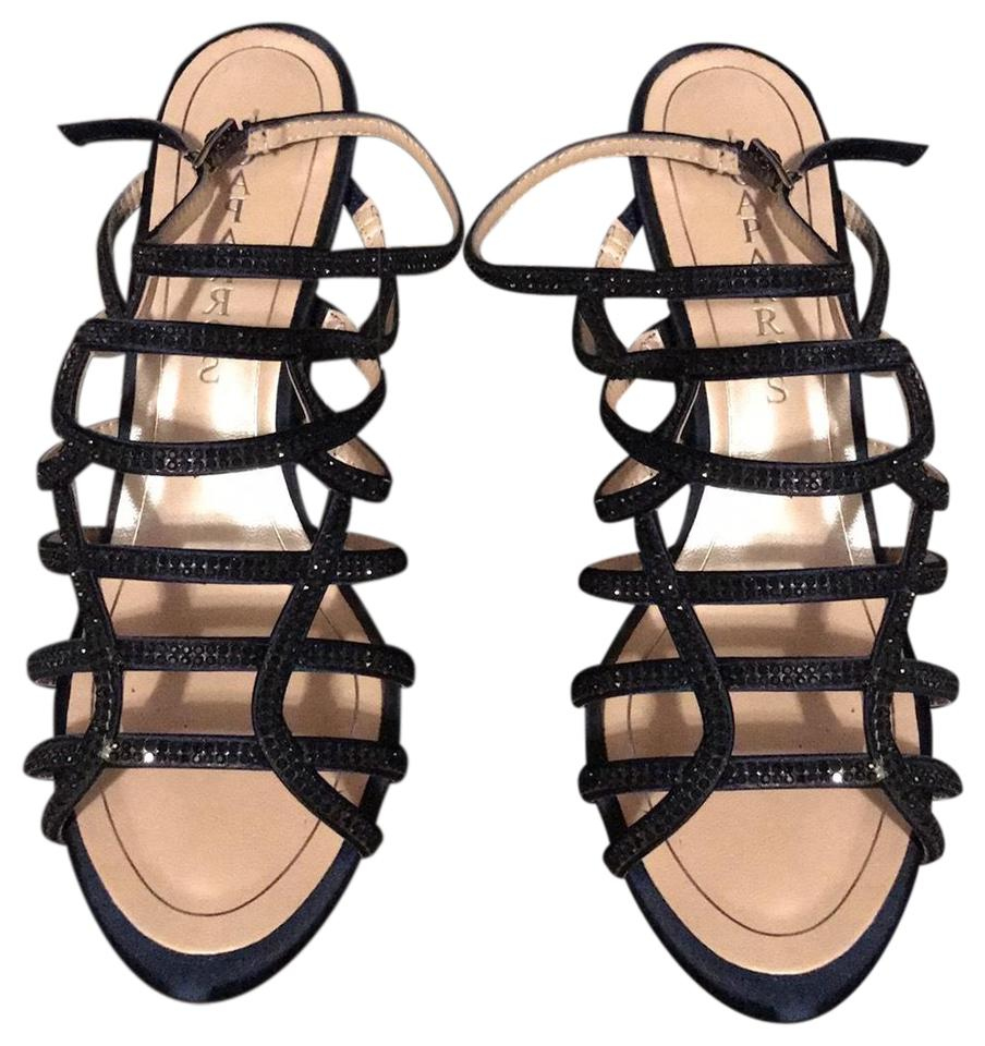 be8379fb56ca Caparros Navy Harmonica Embellished Cage Evening Sandals Formal Shoes