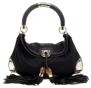 b56566c39a9 Gucci Indy Medium Babouska Top Handle Black Canvas Hobo Bag - Tradesy