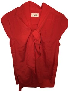 Ruche Comfortable Polyester Top Red