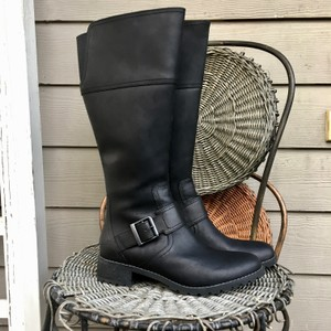 Timberland Winter Riding Leather Knee High Black Boots