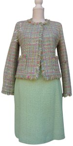 Chanel Chanel Green Pastel Tweed Skirt Suit