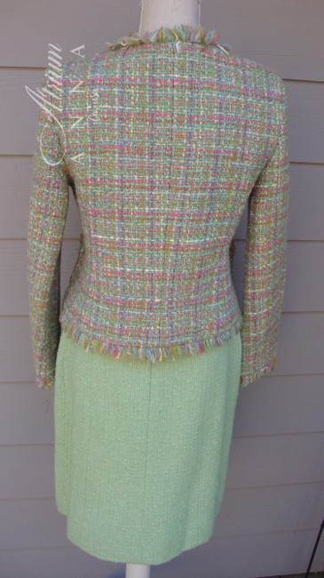 Chanel Chanel Green Pastel Tweed Skirt Suit Image 2