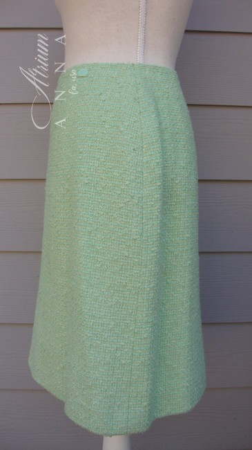 Chanel Chanel Green Pastel Tweed Skirt Suit Image 6