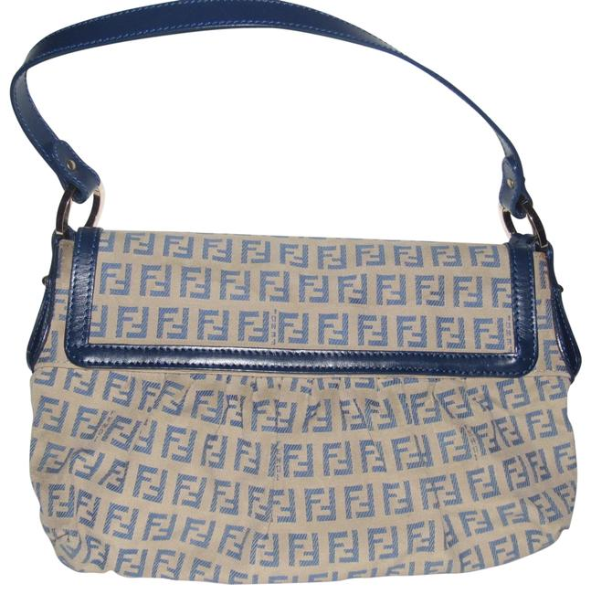 Item - Shoulder Canvas/Leather Chef Line Style Blue Zucchino Print On Tan Leather and Canvas Hobo Bag