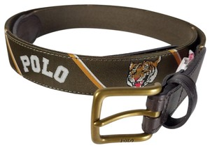 Polo Ralph Lauren Tiger Belt Brown fabric + Leather Brass Buckle