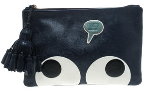 Anya Hindmarch Leather Suede Blue Clutch