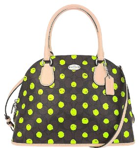 Coach New With Tags Gift Idea Dome Crossbody Satchel in Neon Green/Dark Brown/Black/Natural Leather/Silver
