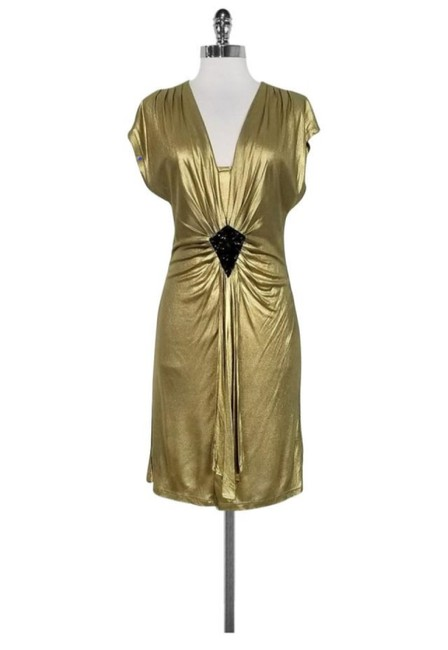 Item - Gold V-neck Party Short Cocktail Dress Size 4 (S)