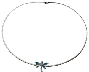 Zales Gold Necklace with Aquamarine Dragonfly Pendant