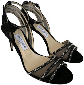 Jimmy Choo Suede Crystal Ankle Strap Mesh Black Sandals