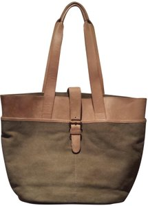L.L.Bean Canvas Leather Multiple Pockets Brass Accent Closure Tote in Olive/Tan