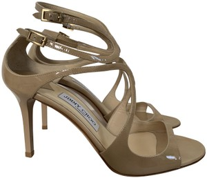 Jimmy Choo Patent Leather Open Toe Nude Sandals