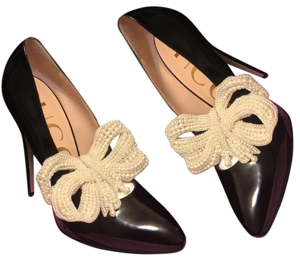 4d0f36224c6a Gucci Black Leather Stilettos with Removable Pearl Bow Elasia Embellished  Pumps