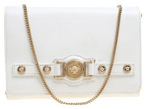 Versace Leather Satin White Clutch