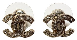 Chanel Gold Classic Small Cc Swarovski Rhinestone Pierced Earrings