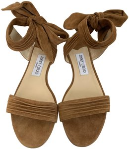 Jimmy Choo Suede Tie Straps Canyon Brown Sandals