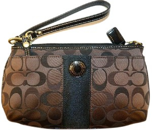 Coach Gift Idea Wallet Baguette Evening Wristlet in Brown/Black/Gold