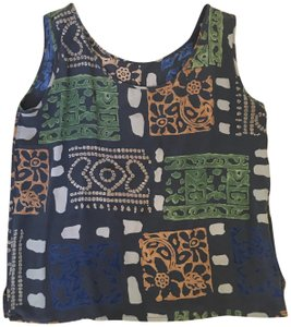 Anthropologie Silk Printed Vintage Sleeveless Top Brown, Green, Ivory, Gold