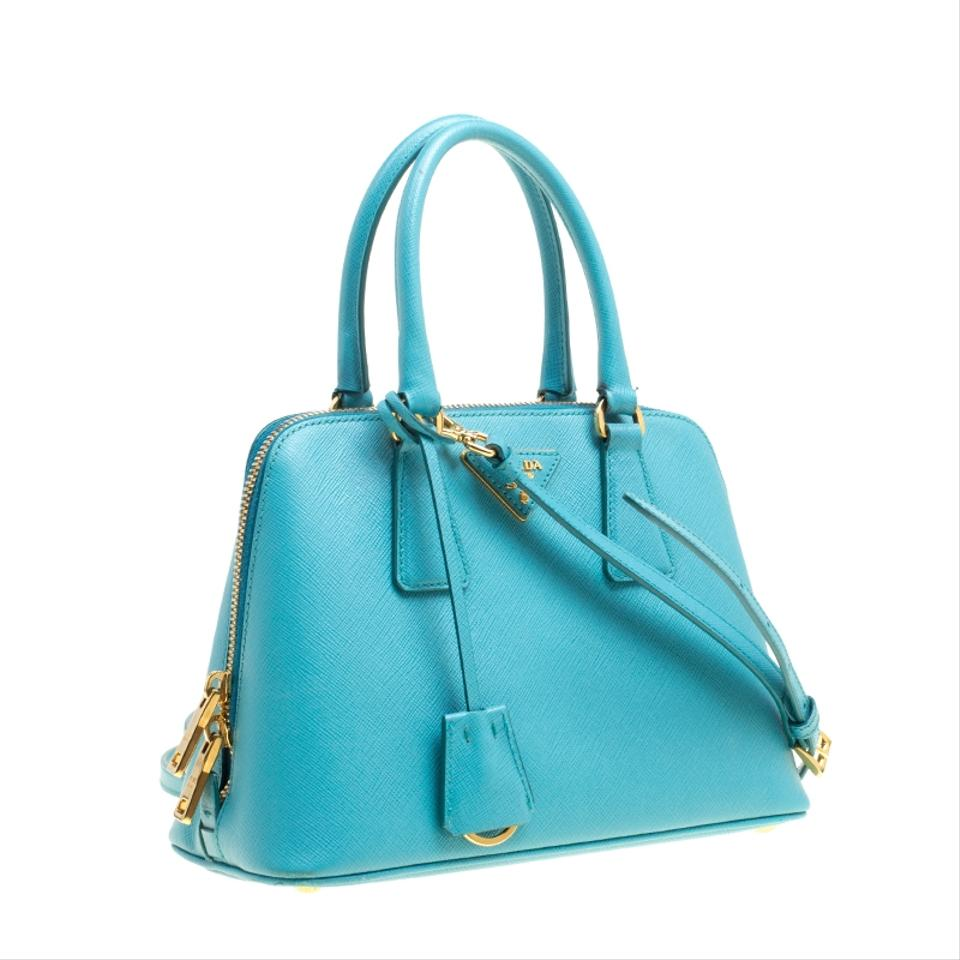 765565b8e Prada Lux Promenade Turquoise Saffiano Small Crossbody Blue Leather ...