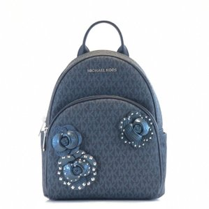 48d8fd7861e6 Michael Kors Abbey Medium Heart Studded Saffiano Navy Leather ...