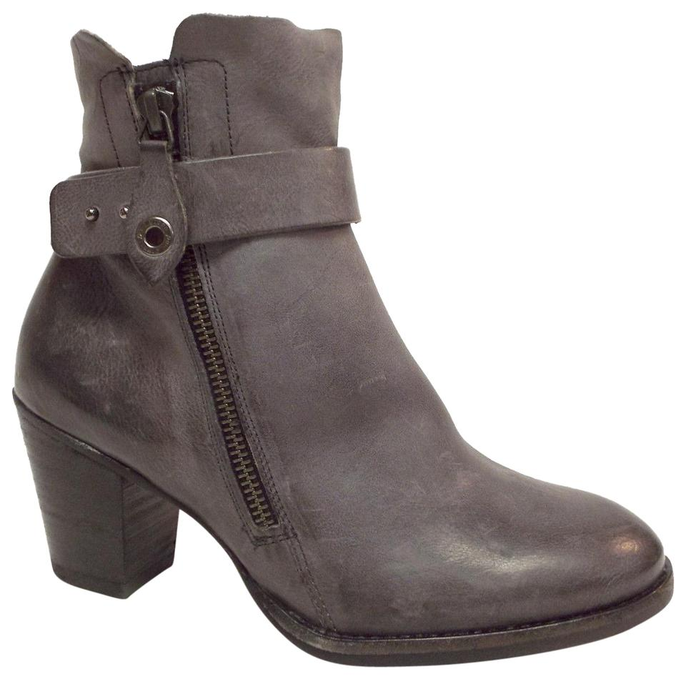 Paul Green Graphite Gray Leather Block heel 3.5uk6us Ankle BootsBooties Size US 6 Regular (M, B)