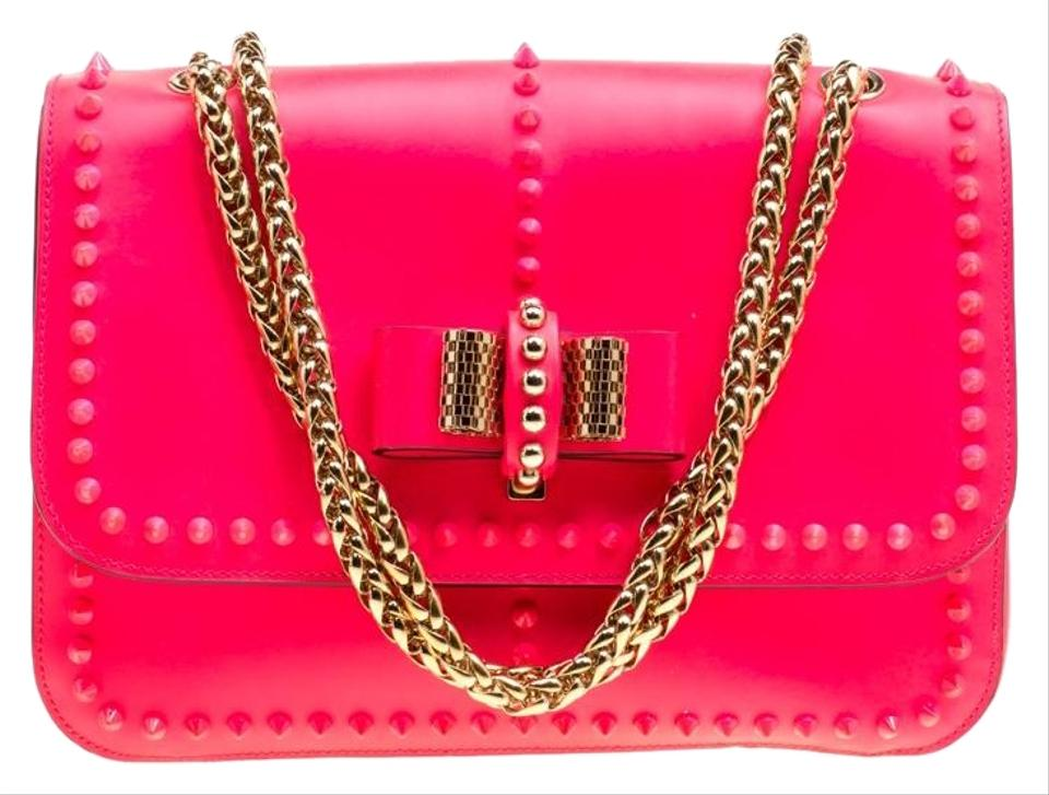 a5dbaa0193c Christian Louboutin Neon Matte Small Rockstud Sweet Chari Pink Leather  Shoulder Bag 17% off retail