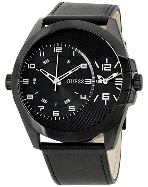 Item - W0505g5 Men's Black Leather Band with Black Analog Dial Watch
