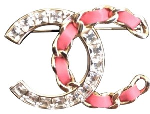 Chanel 18k cc sparkle large CC crystal and leather brooch