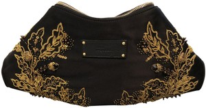 Alexander McQueen Black with gold embroidery Clutch