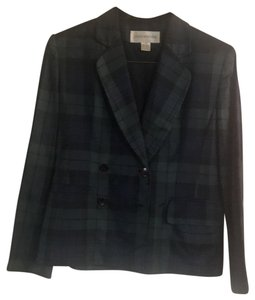 Jones New York Double breasted Plaid Silk suit jacket