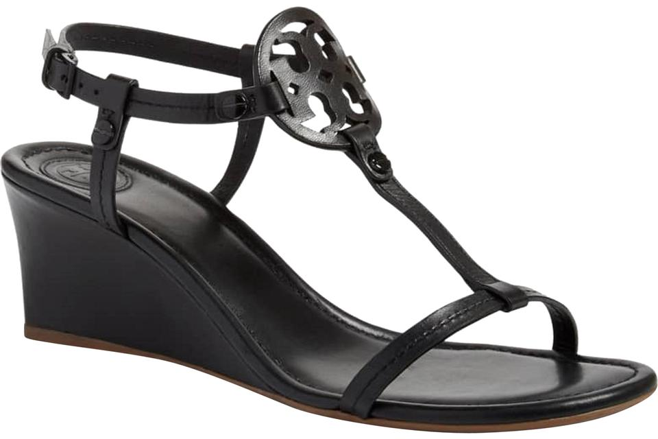f137b247bdbd Tory Burch Black Women s Miller Leather Sandals Wedges Size US 10 ...