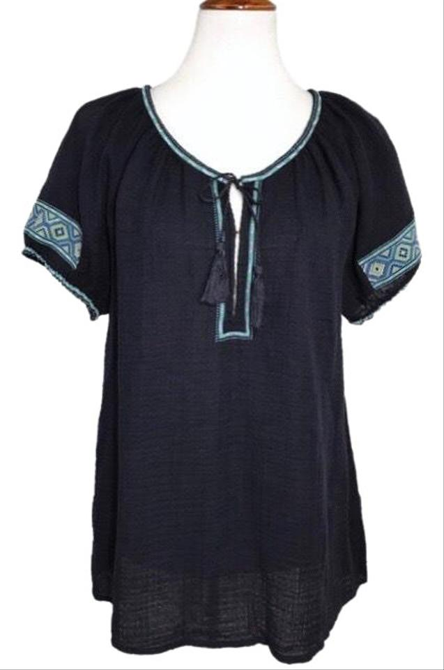9cd8e5cdf99f46 J.Crew Blue Embroidered Navy Peasant Blouse Size 6 (S) - Tradesy