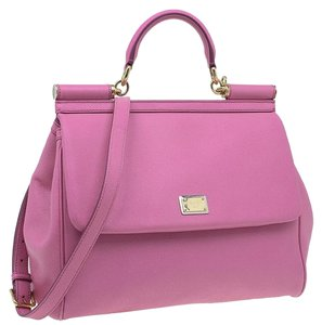 Dolce&Gabbana Leather Magnetic Strap Tote in Pink
